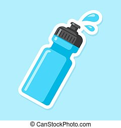 Sports water bottle icon. Blue plastic bottle in flat cartoon style with drops of water. Vector illustration.