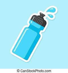 Sports water bottle icon. Blue plastic bottle in flat...