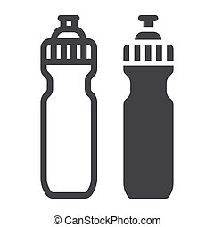 Sports water bottle line and glyph icon, fitness and sport,...