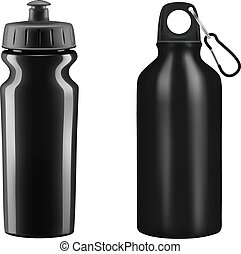 Sports water bottles on white background.Vector...