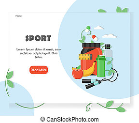 Sports website home page vector design template