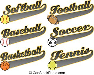 Sports With Tail Banners is an illustration representing six...