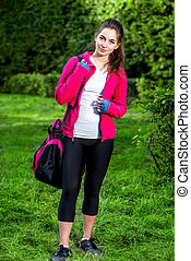 Sports woman in the park