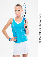Sports woman standing with tennis racket