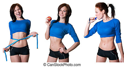 Sports women collection - Set of pretty athletic women doing...