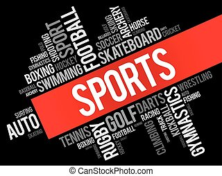 Sports word cloud collage