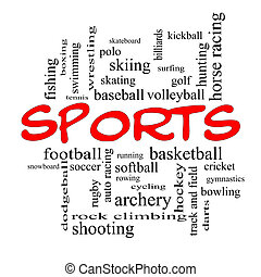 Sports Word Cloud Concept in red caps with great terms such...