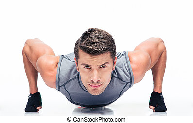 Sports young man doing push ups