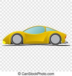 sportscar, 黄色, 漫画, イラスト