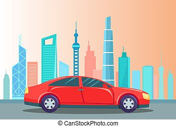 Sportscar at Street of City, Cityscape and Car