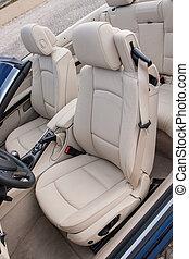 sportscar, cuero, conductor, lujo, asientos
