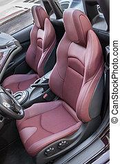sportscar, cuir, chauffeur, luxe, sièges