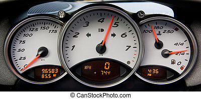 Sportscar Instrument Panel - Instrument panel and tachometer...