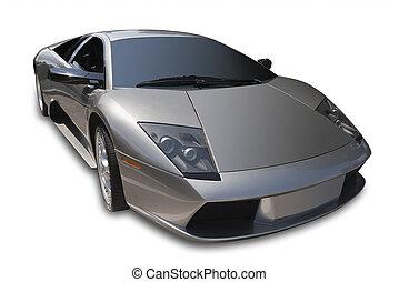 Fast Italian sportscar isolated on white