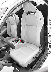 sportscar, leder, bestuurder, luxe, zetels