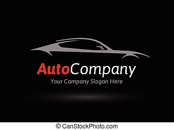 sportscar, logotipo, silhouette, veicolo