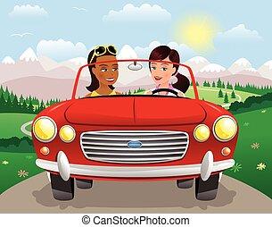 sportscar, mountains.eps, lány, vezetés