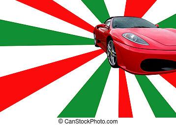 Photo of a sportscar on an italian-coloured background