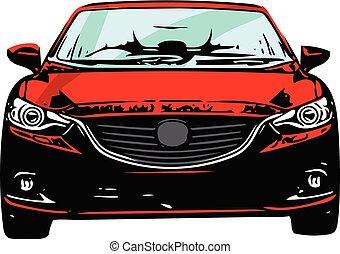 sportscar, silueta, vermelho, veículo