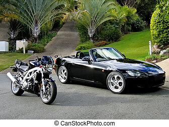 sportscar, sportsbike, noir