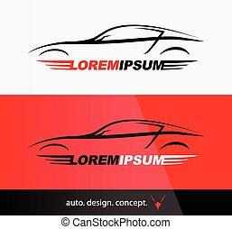 Auto Company Logo Vector Design Concept with Sports Car Silhouette