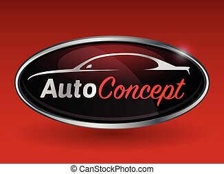 Sportscar vehicle logo silhouette - Conceptual automotive...