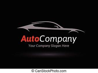 Original Auto Vehicle Vector Logo Design of a Fast Conceptual Super Car Silhouette on Black Background