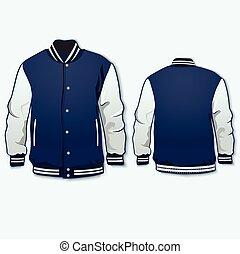 sportsjacketwomen - Sports or varsity jacket. Vector.