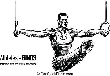 sportsma, ginástica, ilustração