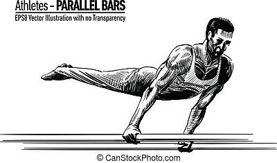 sportsma, ginnastica, illustrazione
