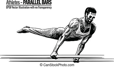 sportsma, gymnastique, illustration