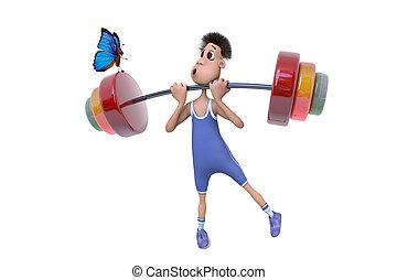 Sportsman and butterfly - 3D cartoon illustration sportsman...