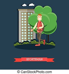 Sportsman concept vector illustration in flat style