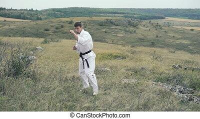 Sportsman exercising moves of taekwondo on the nature. Slowly
