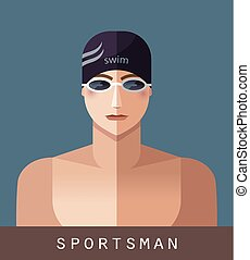 Sportsman icon swimming