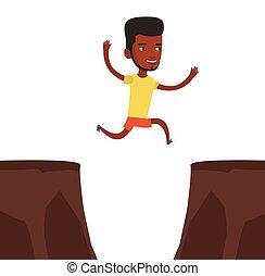 Sportsman jumping over cliff vector illustration
