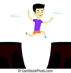 Sportsman jumping over cliff vector illustration.