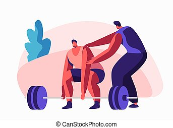 Sportsman Powerlifter Training in Gym with Coach Help. Male Character in Sportswear Workout with Weight. Bodybuilding Exercises, Sport Activity, Healthy Lifestyle. Cartoon Flat Vector Illustration