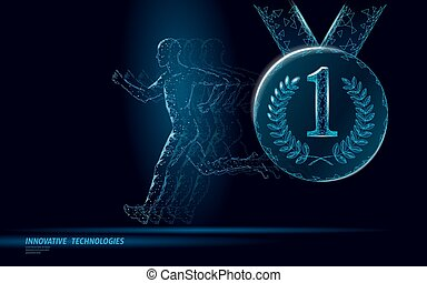 Sportsman run competition winner fitness concept. Low poly man silhouette jogging contest fit marathon. First place leader medal ribbon honor runner prize vector illustration
