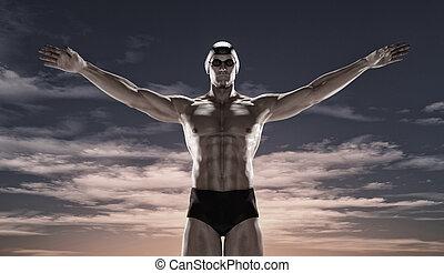 Sportsman swim at sunset.