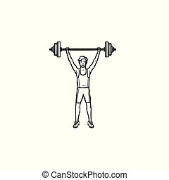 Sportsman with heavyweight barbell hand drawn outline doodle icon.