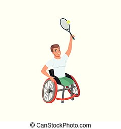 Sportsman with physical disabilities playing tennis. Young...