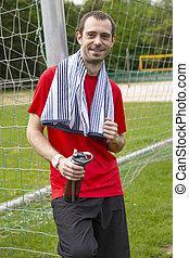 Sportsman with water bottle