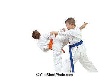 Sportsmen are doing exercise karate