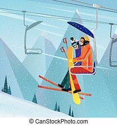 Sportsmen climb the mountain on aerial lift
