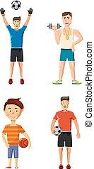Sportsmen icon set, cartoon style