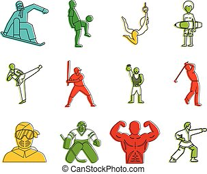 Sportsmen icon set, color outline style