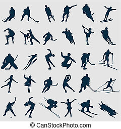 sportsmen, illustratie, colour., silhouettes, vector, black