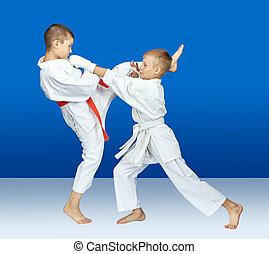 Sportsmen in karategi are hitting karate blows