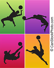 Sportsmen on colorful backgrounds